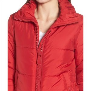 Chic red puffy coat